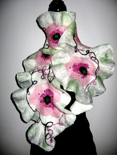 Felted Scarf Poppy white Ruffle Nuno  Women  white by SilkMagic, $67.00