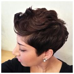 I can see my hair doing this. But I'd still want the sides buzzed/undercut. Short Sassy Hair, Short Hair Cuts, Pixie Cuts, Short Hair Styles, Pixie Styles, Short Pixie, Bob Cuts, Cut Her Hair, Hair Affair