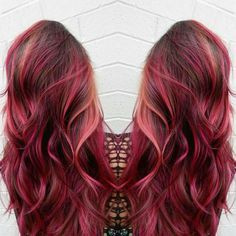 pink hair brown shadow root chocolate strawberry ombre bayalage fashion color rose gold