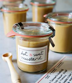 "Hirsheimer's hot & sweet mustard from Christopher Hirsheimer and Melissa Hamilton in Bon Appetit Magazine - Eat Your Books is an indexing website that helps you find & organize your recipes. Click the ""View Complete Recipe"" link for the original recipe. Barbacoa, Mcdonalds, Nutella, Mayonnaise, Great Recipes, Favorite Recipes, Edible Gifts, Homemade Sauce, Canning Recipes"