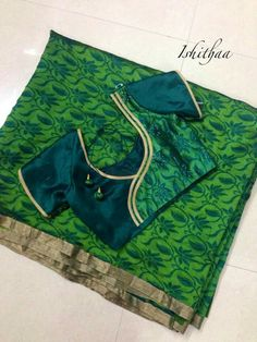 charming green color blouse designs for your reception preparations....!@!@ #covaiweddingshoppers