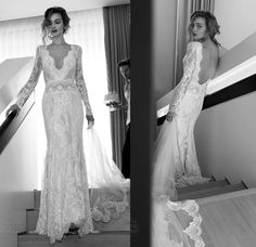 Lihi Hod Bohemian Lace Wedding Dresses with 2016 Sexy Vintage Deep V Neckline Long Sleeves Backless Sweep Train Modest Boho Bridal Gowns New Online with $139.27/Piece on Nameilishawedding's Store | DHgate.com