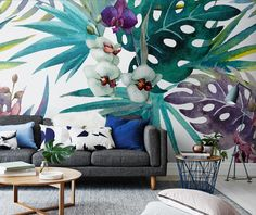 tropical Living room by Pixers. Would you make your own wall mural?