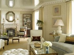 """""""We did a high lacquered ceiling in the Living Room. It creates a beautiful reflection by candlelight and makes the rather low ceiling seem much higher than it actually is. """" Phoebe Howard -"""