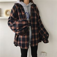 Women Autumn Casual Thin Woolen Plaid Cardigan Shirt Female Buttons Puff Sleeve Blouse Turn-Down Collar Plus Size Top Indie Outfits, Edgy Outfits, Teen Fashion Outfits, Korean Outfits, Retro Outfits, Grunge Outfits, Cute Casual Outfits, Cute Outfits With Flannels, How To Wear Flannels