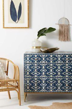 Anthropologie Ikat Inlay Three-Drawer Dresser, bedroom decor, home decor, boho decor, room decor Retro Home Decor, Easy Home Decor, Cheap Home Decor, Diy Home, Blue Home Decor, Home Design, Home Interior Design, Design Ideas, Diy Interior