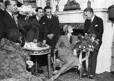 Charlie Chaplin and Marlene Dietrich at Hotel Adlon, Berlin, 1931.
