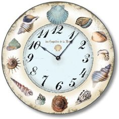 Check out the absolute best coastal and beach wall clocks you can buy at Beachfront Decor! We have a huge variety of coastal, nautical, tropical, and beach themed clocks that are perfect for your wall decor. Beach Wall Decor, Home Wall Decor, Rectangle Wall Clock, Clocks Go Back, Beach Color, Diy Clock, Sea Shells, Decoupage, Shabby