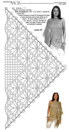 Diagram bewerkt en voorzien van rand (Annie - Her Crochet Crochet Bolero Pattern, Crochet Shawl Diagram, Crochet Poncho, Filet Crochet, Crochet Scarves, Crochet Clothes, Crochet Lace, Shawl Patterns, Crochet Stitches Patterns