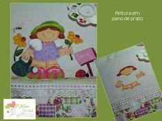 Pano de prato - pintado à mão - Menina flor - Além Brasil