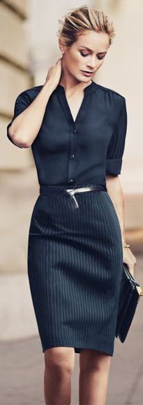 Navy on navy pinstripes business casual - office wear - work outfit - rolled up sleeves black silk blouse + Navy Pinstriped Pencil Skirt + black belt