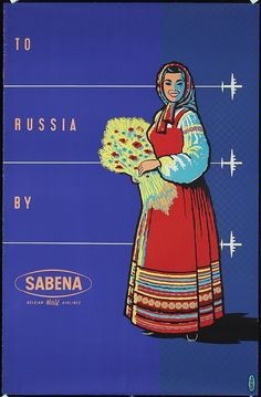Original 1950s Sabena Airlines Travel Poster Russia