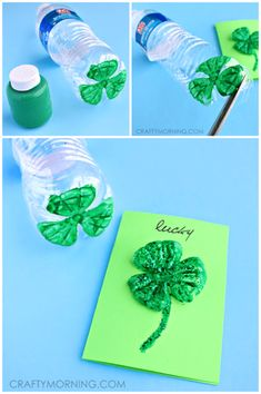 to make a recycled plastic water bottle shamrock for St. Patrick's Day How to make a recycled plastic water bottle shamrock for St. Patrick's DayHow to make a recycled plastic water bottle shamrock for St. Patrick's Day March Crafts, St Patrick's Day Crafts, Daycare Crafts, Classroom Crafts, Spring Crafts, Preschool Crafts, Holiday Crafts, Arts And Crafts, Blue Crafts