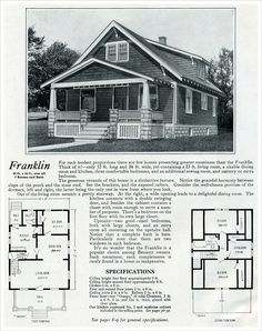 1920 Bennett Homes: The Franklin - One and a half baths and three bedrooms made the Franklin house plan desirable to many a home buyer in 1920. Bennett Homes catalog showed many small- to medium-size bungalows, which were precut and ready to assemble. In about 1500 square feet, the Franklin also has a spacious living room with an attractive staircase, large dining room, and kitchen with convenient access to the back porch and basement.