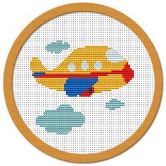 A little plane This listing is for a PDF cross stitch pattern featuring a lovely little airplane that I created. Perfect to decorate the room of a little boy. IN A NUTSHELL: - Skill level: beginner - Size: 6 Cross Stitch For Kids, Cross Stitch Cards, Cross Stitch Borders, Cross Stitch Baby, Modern Cross Stitch, Counted Cross Stitch Patterns, Cross Stitch Designs, Cross Stitching, Cross Stitch Embroidery