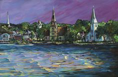 Anne More, The Colours of Mahone Bay, acrylic, Mahone Bay, Nova Scotia (from Arabella Canadian Landscape Competition) Canadian Artists, Nova Scotia, Brush Strokes, Competition, Colours, Landscape, Heart, Pictures, Painting