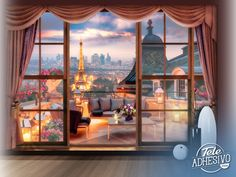 Wall mural View of the Eiffel Tower. Romantic terrace that does not lack detail in Paris with privileged views over the Eiffel Tower. Gothic Wallpaper, Paris Wallpaper, Wall Wallpaper, Beautiful Landscape Wallpaper, Beautiful Landscapes, Tour Effel, Poster Xxl, Casa Anime, Wall Design