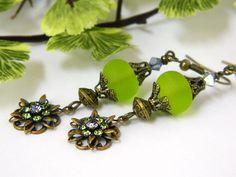 Unique Earrings for Women, Green Earrings, Crystal Drop Earrings, Short Earrings, Brass Earrings, Handcrafted Jewelry, Glass Earrings