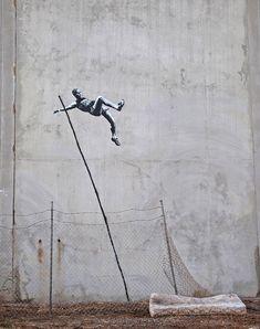 Banksy interprets the Olympics - Pole Vault Escape