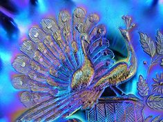 """Northwood """"Peacocks(on the fence)"""" blue carnival glass bowl by art-of-glass, via Flickr"""