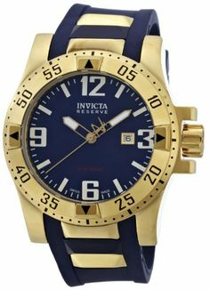 Invicta Men's 6254 Reserve Collection Excursion Blue Polyurethane Watch Invicta. $259.99. Durable flame-fusion crystal; 18k gold plated stainless steel case; blue polyurethane strap with gold plated inserts. Water-resistant to 660 feet (200 M). Precise Swiss-quartz movement. Blue sunray dial with luminous hands, hour markers and arabic numerals. Date function. Save 74%!