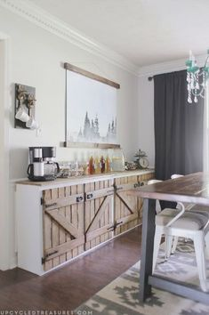 upcycled barnwood style cabinet, dining room ide ..   - CLICK PIN for Lots of Kitchen Cabinet Ideas. #kitchencabinets #kitchendesign