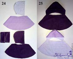 Приступаем к пошиву третьего комплекта одежды для куклы-большеножки. Для начала, подбираем материал на комплект. Он у нас будет состоять из: трикотажа на шапочку, флиса на пальто, хлопка на платье, фетра на обувь. Начинаем с легинсов. 1. Легинсы делаем из носка подходящей длины и цвета. 2. Выкроить легинсы (отрезать паголенок у носка и разрезать его посередине, не доходя до верха примерно 6-7 см (для куклы 32см)). 3.