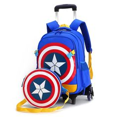53.46$  Watch here - http://aliqh8.worldwells.pw/go.php?t=32782277854 - Primary School Travel Trolley Bag Captain America Children Anime Backpack With Trolley Girls And Boys Schoolbag Child With Wheel 53.46$
