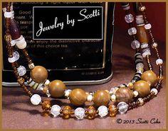 Tigerskin Jasper Necklace // Topaz Amber Glass Beads // Crystal Crackle // Pukka Shells // Triple Strand // SRAJD #charity #OOAK