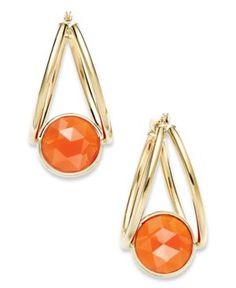 Macys 10k gold earrings, Cranelian Double Hoop.Check and shop http://rstyle.me/~b6xT