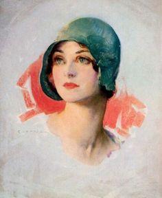 """Guy Hoff American 1889 - 1962 """"Girl in the Green Hat"""""""