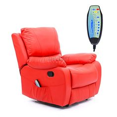 FoxHunter Bonded Leather Massage Cinema Recliner Sofa Chair Armchair With Heating Function FH-MLS-06 Red