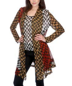 Take a look at this Tan & Red Houndstooth Layered Tunic by Radzoli on #zulily today!