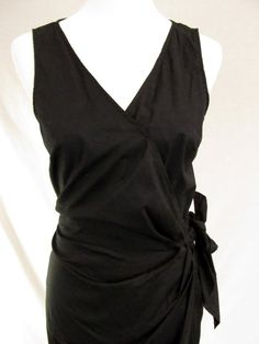 Little Black Dress, A Great Cotton Summer Dress in the faux wrap style by Ann Taylor, Size 10.