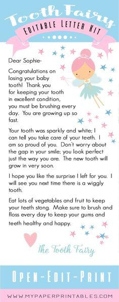 tooth fairy editable letter kit