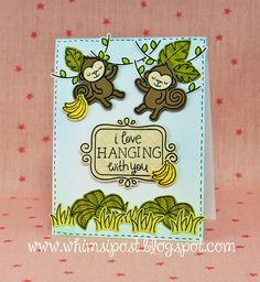 Lawn Fawn Critters in the Jungle Monkey card by Elise.