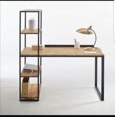 Hiba Steel/Solid Oak Desk with Shelving Unit LA REDOUTE INTERIEURS Industrial style furniture in solid joined oak and metal, providing 2 pieces of furniture in one. The Hiba desk-shelving unit combines contemporary. Steel Furniture, Office Furniture, Diy Furniture, Furniture Design, Furniture Plans, Office Desk, Modular Furniture, Furniture Stores, Bedroom Furniture