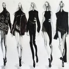 Sketching Anthony Vaccarello AW15, by Jeanette Getrost