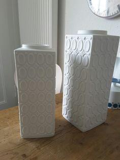 ... Bisque Pottery, Ceramic Bisque, Ready To Paint Ceramics, Vintage Vases, White Vases, Op Art, White Porcelain, German, Home Decor