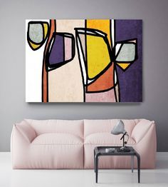 Vibrant Colorful Abstract-013. Mid-Century Modern Pink Purple Canvas Art Print, Mid Century Modern Canvas Art Print up to 72 by Irena Orlov