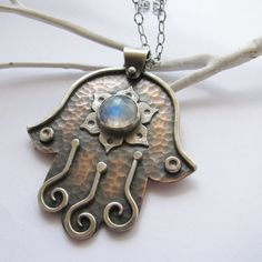Rainbow+Moonstone+Lotus+Hamsa+Necklace+Copper+Sterling+by+Mocahete,+$238.00