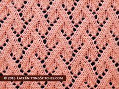 Lace Knitting. #33 Grapevine Knitted Lace stitch.