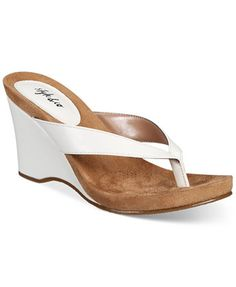Style & Co Chicklet Wedge Thong Sandals, Created for Macy's - White Wedge Sandals, Wedge Shoes, Shoes Sandals, Fab Shoes, Flip Flop Shoes, Flip Flops, Shoe Last, Girls Shoes, Pumps Heels