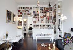 Stockholm bookshelves - built out around the corner
