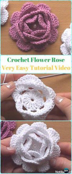 Crochet Flowers Easy Crochet Flower Rose Flower Free Pattern Very Easy Tutorial - Crochet Rose Flowers Free Patterns Crochet Puff Flower, Crochet Flower Tutorial, Knitted Flowers, Crochet Flower Patterns, Crochet Motif, Crochet Yarn, Easy Crochet, Rose Tutorial, Crochet Roses