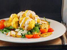Spicy Buffalo Cauliflower Salad with a Mustard Hummus Dressing