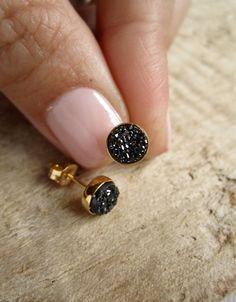 Tiny Black Druzy Earrings Drusy Quartz Studs Gold Vermeil Bezel Set. $55.00, via Etsy.