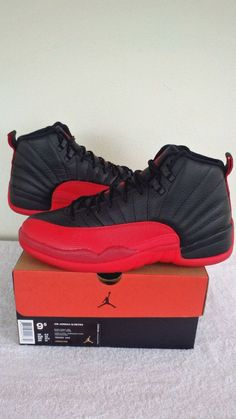 c03f6b5d6 2016 Nike Air Jordan Retro 12 XII Black Varsity Red Flu Game 9.5
