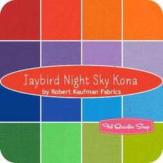 Jaybird+Night+Sky+Kona+Fat+Quarter+Bundle+Robert+Kaufman+Fabrics