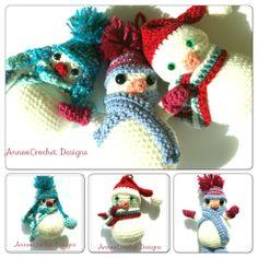 Trio of Snowmen Christmas Ornaments Free Tutorial By AnnooCrochet Designs